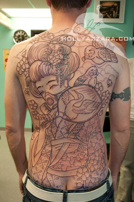 Holly Azzara - Geisha with birds back piece outline session 1